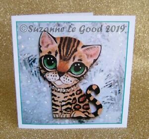 Bengal-Cat-kitten-painting-Christmas-card-glitter-from-original-Suzanne-Le-Good