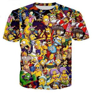 Fashion-The-Simpsons-Funny-3D-Print-T-Shirt-Women-men-039-s-Casual-Short-Sleeve