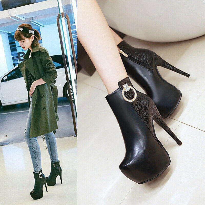 Womens Round Toe Boots Conceal Platform Dress Casual Evening Party Fashion shoes