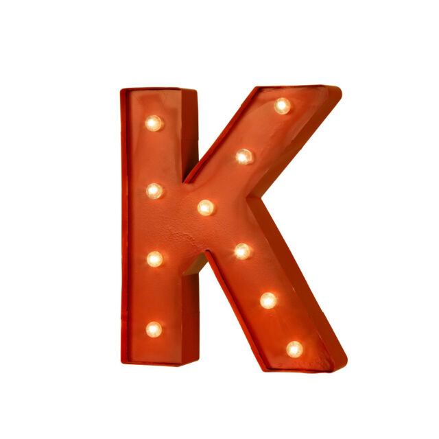 Glitzhome Vintage Marquee Led Lighted Red Letter K Sign Battery Operated Decor