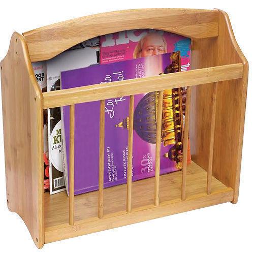 Bamboo standing wooden magazine rack newspaper mail shelf