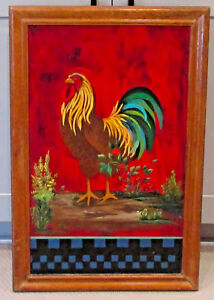 Vintage-Folk-Wall-Art-Chicken-Rooster-Original-Painting-Wood-Signed-16-5-034-x-25-034