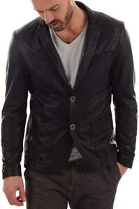 Genuine Coat Jacket Mens Button Stylish Lambskin Two Real Soft Blazer Leather d0C08w