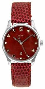 5a3366ce246 Gucci G-Timeless Red MOP Dial Red Leather 29mm Women s Watch ...