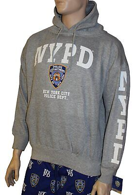 NYPD Hoodie White Sleeve Print Sweatshirt Navy Blue New York City Police Shirt