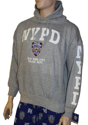NYPD Hoodie White Sleeve Print Sweatshirt Gray New York City Police Shirt Mens