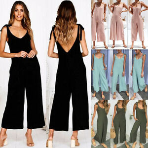 3fea3d4c3e Image is loading Women-Strappy-Sleeveless-Wide-Leg-Jumpsuits-Casual-Loose-