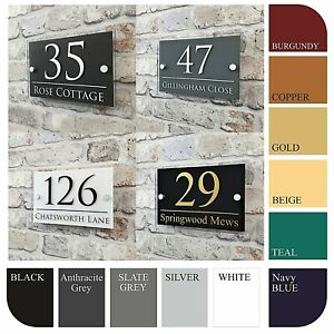 Contemporary Door Sign Plaque Door Number Personalised Name Plate EMA4-2W-A