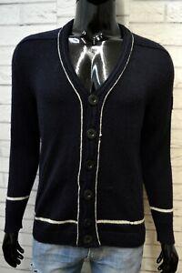 Maglione-Cardigan-Uomo-Fila-Taglia-S-Pullover-Lana-Blu-Felpa-Bottone-Sweater-Man
