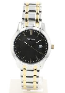 Bulova Men's 98B237 Quartz Black Dial Gold-Tone Accents Two-Tone Band 39mm Watch