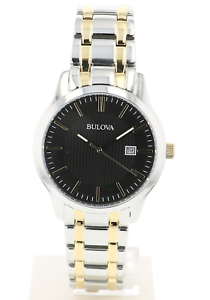 Bulova-Men-039-s-98B237-Quartz-Black-Dial-Gold-Tone-Accents-Two-Tone-Band-39mm-Watch