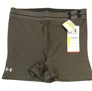 NEW WOMEN'S SMALL UNDER ARMOUR COMPRESSION SHORTS Gray Yoga Running Workout