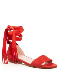 Stuart Weitzman Corbata PIMENTO RED SUEDE 6 M Lace Up Flat Sandals 5 SPAIN