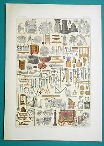 ROMAN-Utensils-Building-Tools-Carriages-Trades-etc-1883-Color-Litho-Print