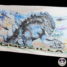 "Vtg Godzilla Beach Towel 90s 1998 54"" x 31"" Monster Hellicopter Dinosaur"