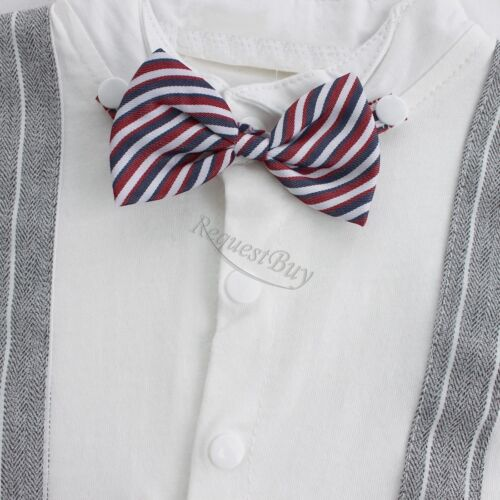 Bebé Niño Boda Fiesta Esmoquin trajes Bowtie Mameluco de una sola pieza traje recién nacido 0-24M