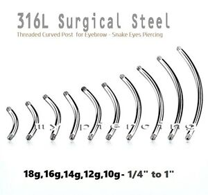 20g-10g-Steel-Threaded-Curved-Eyebrow-Barbell-amp-Tongue-Snake-Eyes-Piercing-Post