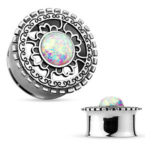Pair-Surgical-Steel-Double-Flared-Tunnels-with-Opal-Silver-Plated-Tribal-Shield