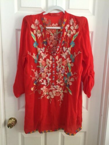 JOHNNY WAS EMBROIDERY TUNIC BLOUSE (LARGE)