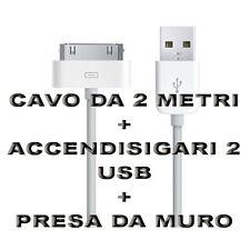 Kit Carica Batteria Auto Cavo 30 Pin 2M Usb Per Iphone 3G 3GS 4 4S IPOD Ipad 2