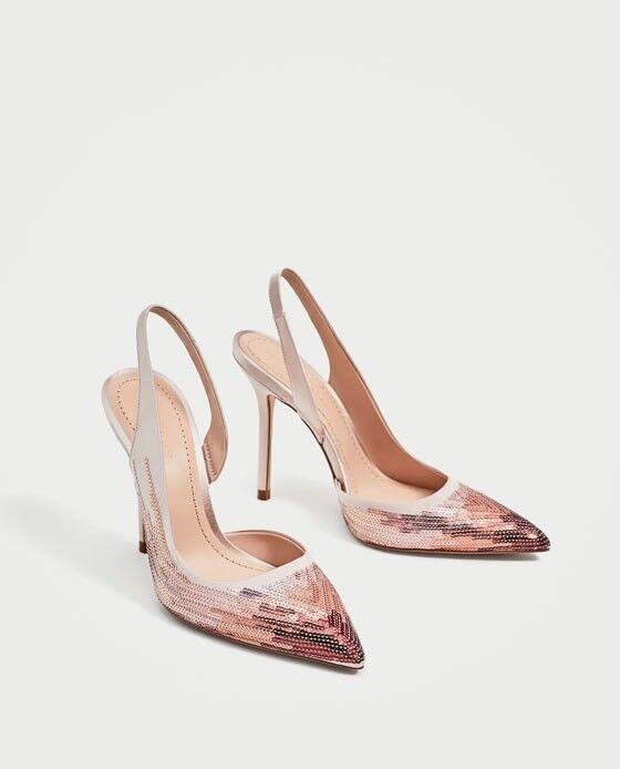 Zara Women Sequinned High Heel Slingback Shoes Size 6 NWT