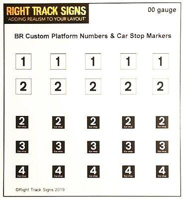 00 Gauge Custom Br Platform Numbers & Car Stop Markers, Platform / Station Signs Alta Qualità E Basso Sovraccarico