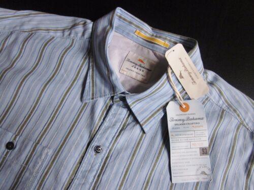 TOMMY BAHAMA JEANS $110 blue dingo dobby stripe long sleeve sport shirt NWT