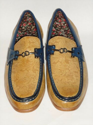 Mens Scotch Tan Navy Accent Floral Detailed Cool Loafers Antonio Cerrelli 6676