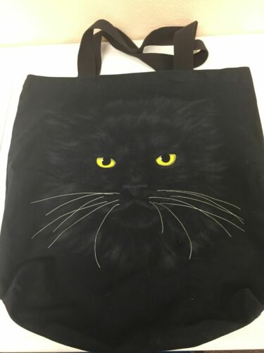 Black Cat Huge Tote Bag Cat lover Bag Art Shopper