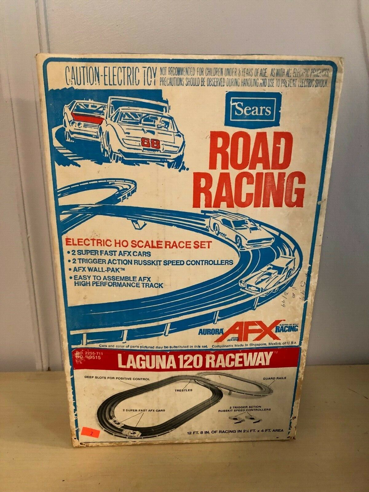 Old Vtg Sears Road Racing AFX Aurora Laguna 120 Raceway Play Set Toy With Box