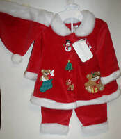 Girls 3 Piece Christmas Red Velour Fashion Boutique Outfit Size 3 Months