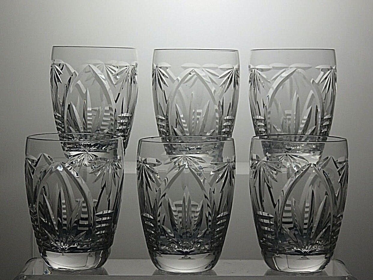 Webb Corbett Crystal  gothique  Cut 7 oz (environ 198.44 g) Baril verres à eau Lot de 6 - 3 1 2  Tall