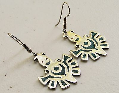 """Southwestern Taxco Mexico 2 1/8"""" Sterling Silver Happy Face Turquoise + Earrings"""