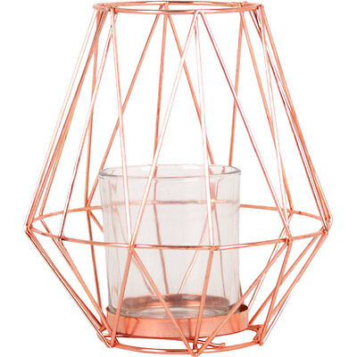 Tall Geometric Copper Metal Candle Holder Tea Light Lantern Centerpiece 19cm