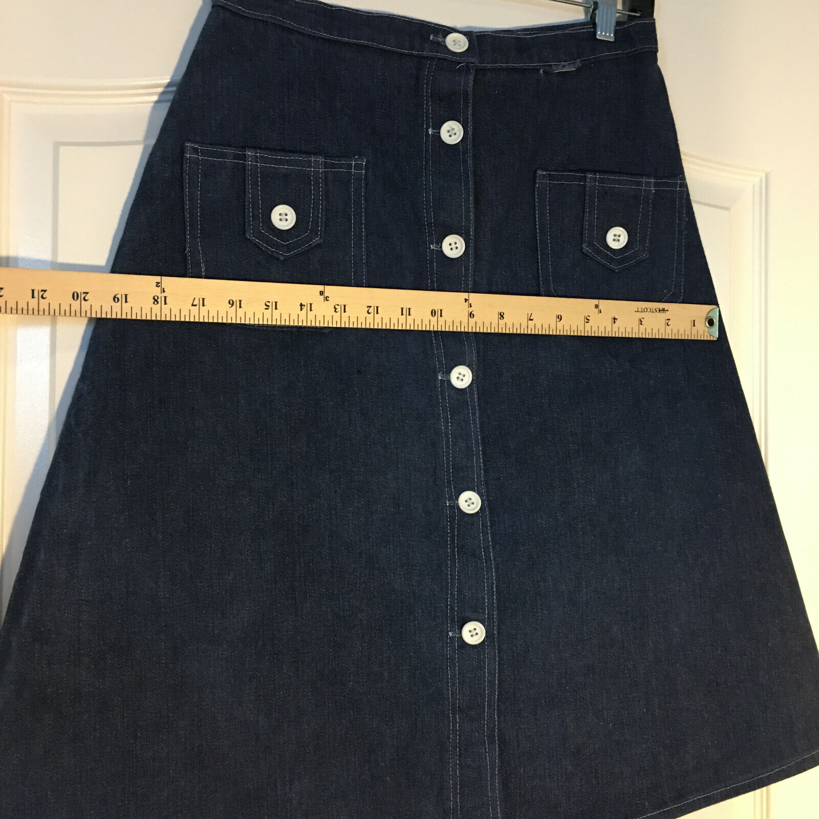 Peekaboo A-Line Vintage Inspired Denim Button Fro… - image 7