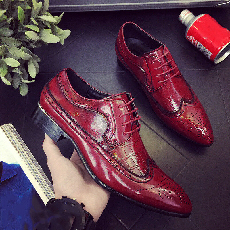 Mens Leather shoes Wingtip Pointed Toe Oxfords Brogue Wedding Party Formal Dress