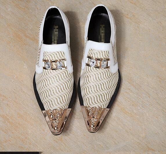 Men Metal Pointed Toe Rhinestone Leather Business Slip On Dress Loafers shoes 66