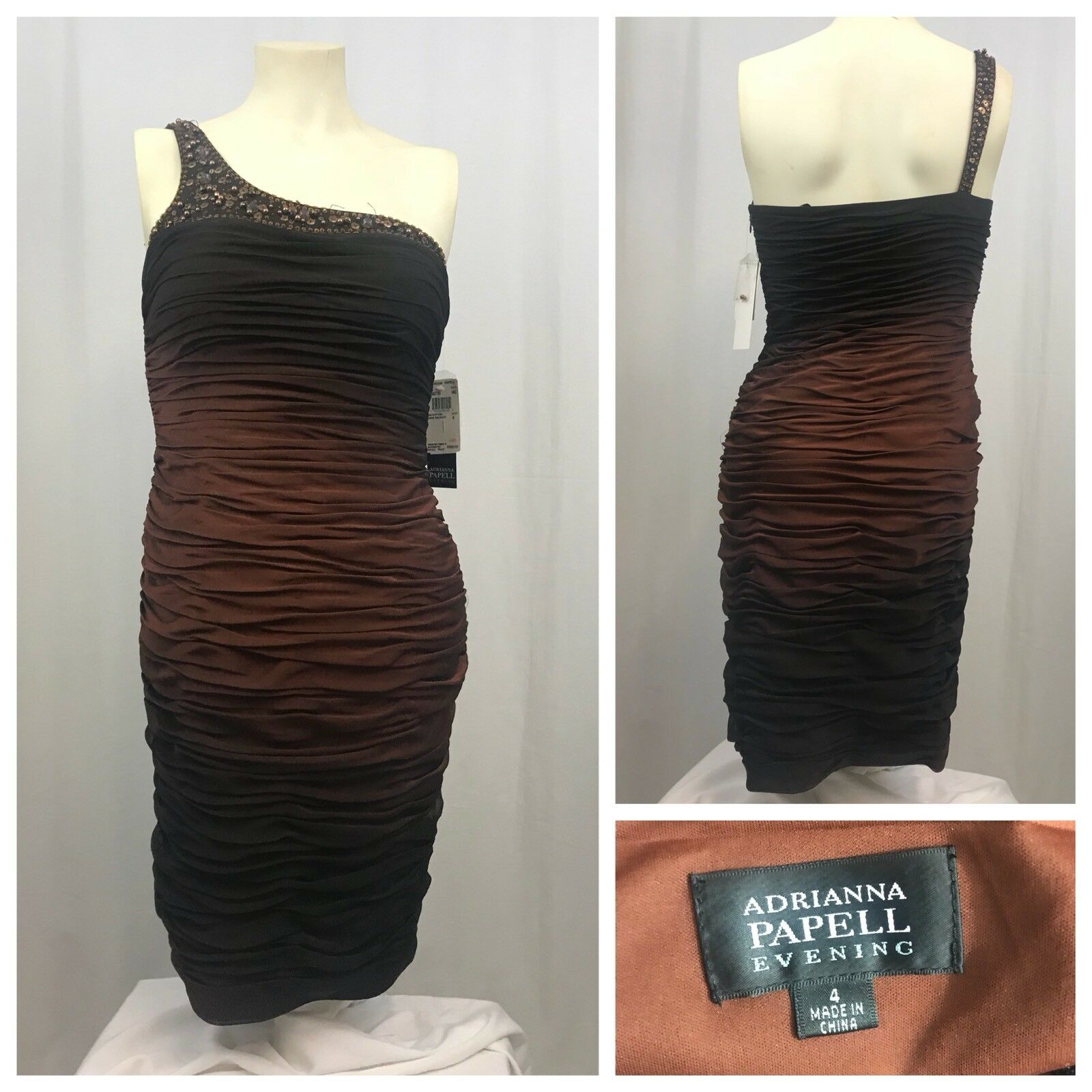 ADRIANNA PAPELL EVENING Womens Sequin One Shoulder Ombre Brown Dress NWT Size 4