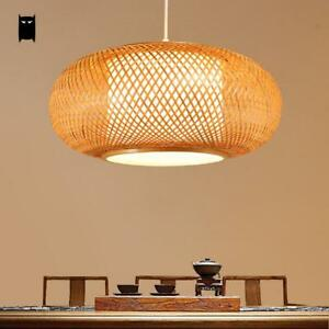 Bamboo wicker rattan shade pendant light fixture asian ceiling lamp la foto se est cargando bamboo wicker rattan shade pendant light fixture asian aloadofball Images
