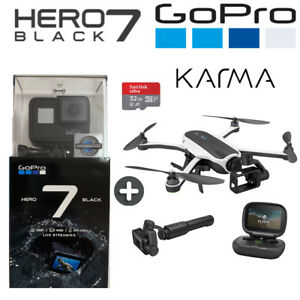 GoPro Hero 7 Black 4K60 Ultra HD HyperSmooth + Karma Drone Bundle + 32GB SD Card