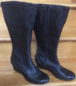 womens tall black wedge boots
