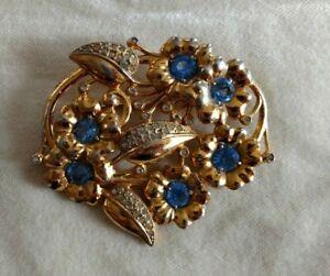Vintage Silver Toned Pin Brooch Circular Wreath Design  AB Rhinestones Missing Stone Used