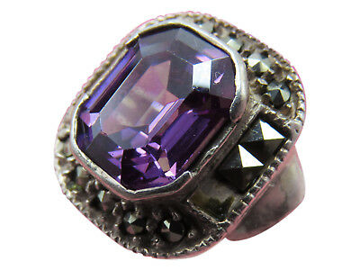 Vintage Sterling Silver Cocktail Ring Purple Amethyst Rhinestone Size 7 532h