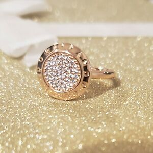 19fd3ac5edb3a Details about Authentic Pandora Signature Pave Rose Gold Ring #180912CZ  Size 6/52 +Pouch