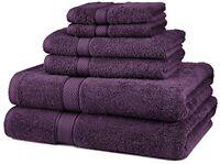 6 Piece 100% Egyptian Cotton 725 Gram Bath Towel Towel Set, Plum, Free Shipping