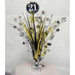 Image Is Loading 21st Birthday Spray Centrepiece Table Decoration Black Silver