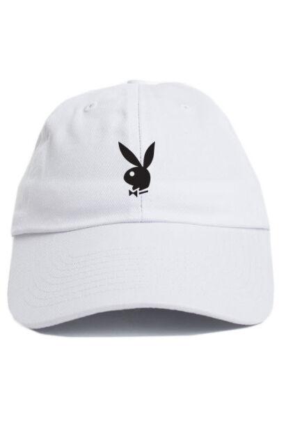 681eee40 Playboy Bunny Custom Unstructured Dad Hat Adjustable Cap Hefner New-White