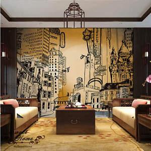 3d city portraits black white wallpaper full wall mural for 3d wallpaper home decor uk