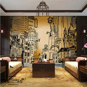 Image Is Loading 3D City Portraits Black White Wallpaper Full Wall