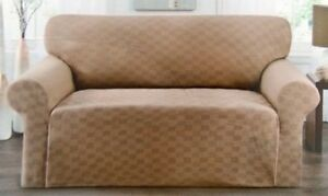 STRETCH SLIPCOVER FOR COUCH SOFA---BURGUNDY--CHECKERBOARD----COMES IN ALL SIZES